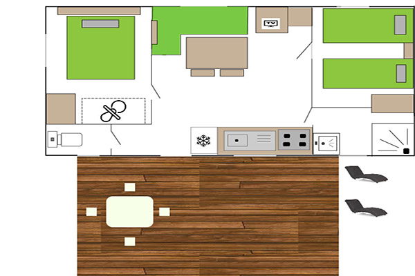 Plan Mobil-Home Fidji - Camping Val Fleuri Location