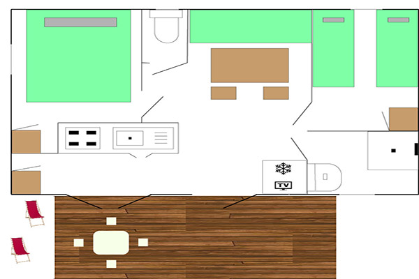 Plan Mobil-Home Lagon - Camping Val Fleuri Location